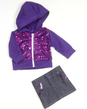 2 Piece Skirt and Hoodie Set fits American Girl Doll Clothes