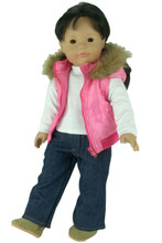 3 Piece Denim Jeans Set fits American Doll Winter Clothes