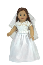 "18"" Doll White Celebration Dress & Veil fits American Girl Doll Dresses"