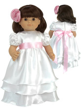 "White Satin Celebration Dress Set For 15"" Baby Dolls"