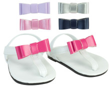 "White 18"" Doll Summer Sandals w/ 5 Changeable Bows fits American Doll Sandals"