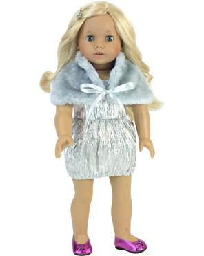 "Sophia's Silver Special Occasion Dress & Fur Wrap For 18"" Dolls"