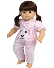 "15"" Baby Doll Sleeper with adorable Bear Face fits Bitty Baby Doll Sleepwear"