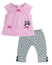 "15"" Baby Doll Pants w/Panda Motif 2 Piece Set"