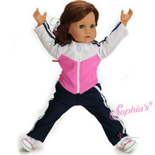 "Navy and Pink 2 Pc 18"" Doll Track Suit fits American Girl"