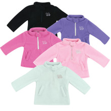 Zipper Fleece Pullover with Heart Logo Fits American Girl