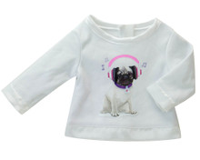 "Music Pug Graphic Tee Shirt Fits 18"" American Girl Doll"