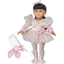 5 Piece Ballerina Set: Velour Leotard and Headband, Tutu, Ballet Slippers and Pink Tights