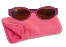 "18"" Magenta Sunglasses and Hot Pink Furry Case"