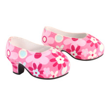 Pink Floral High Heels For 18 Inch Dolls