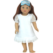 "18"" Doll White Nightgown & Sleeping Mask 2 Piece Set fits American Girl Dolls"