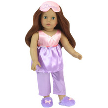 "18"" Doll Satin Pajama 4 Piece Set Pink & Lavender Pj's fit American Girl"