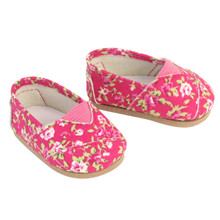 "Hot Pink Floral 18"" Doll Espadrille fit American Girl Dolls"