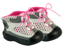 "Gray & Pink Hiking Boots For 18"" Dolls"