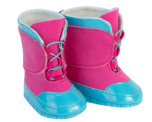 "Blue & Fuchsia Lace Up Snow Boots Fit 18"" Dolls"