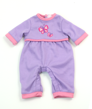 "12"" Doll Lavender Long Sleeve Sleeper with Embroidered Butterfly Detail"