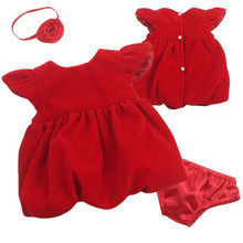 "12"" Baby Doll Red Velvet Holiday Dress  3 Piece Set"