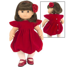 "15"" Red Velvet Holiday Dress 3 Piece Set fits Bitty Baby Dresses"