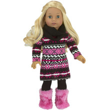18 Inch Doll Knit Dress and Infinity Scarf 2 Piece Set fits American Girl Dresses