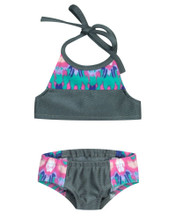 "18"" Doll 2 Piece Bathing Suit in Waterfall Print fits American Girl Swimwear"