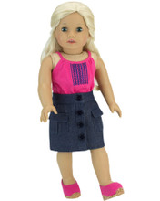 "Denim Skirt and Tank Set For 18"" Dolls"
