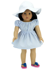 "18"" Doll Dress in Blue Seersucker with White Floppy Hat"