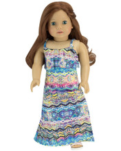 Multi Print Maxi Dress for 18 inch Dolls fits American Girl Dolls
