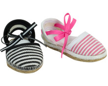 18 inch Doll Espadrilles in Black or Pink Stripe fits American Girl Doll Shoes