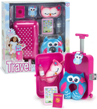 "7 Piece Travel Suitcase & Accessory Set for 18"" Dolls, Fits American Girl Dolls"