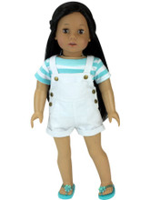 "Shorts Overalls & Aqua Striped Tee Set fits 18"" Dolls"