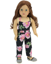 "18"" Doll Floral Print Jumpsuit fits American Girl Doll Clothes"