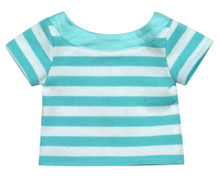 "18"" Doll Tee Shirt in Aqua/White Stripe fits American Girl Tee Shirts"