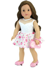 "Floral Dress for 18"" Dolls 2 Pc Set fits American Girl Doll Dresses"