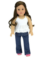"18"" Doll Denim Jeans & Lace Top 2 Piece Set fits American Girl Jeans OUTFIT OF THE WEEK"