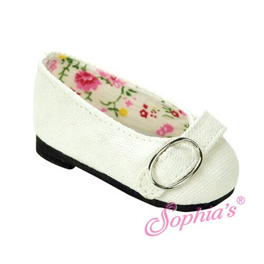 "Sophia's White Buckle Loafer Fits 18"" Dolls"