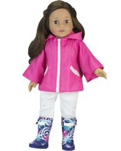 Hot Pink  Nylon Poncho & Star Print Wellies Fits 18 Inch Dolls