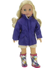 Purple Nylon Zippered Parka & Plaid Rubber Wellies 2 Piece Set fits American Girl