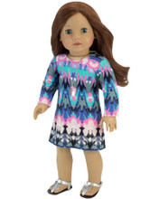 Doll Dress for 18 inch Dolls in Watercolor Print fits American Girl Doll Dresses