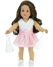 Light Pink Cheerleader Dress w/Pom Poms fits American Girl Doll Sport Costumes