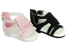 "Fringe Sandals for 18"" Dolls, fits American Girl Dolls"