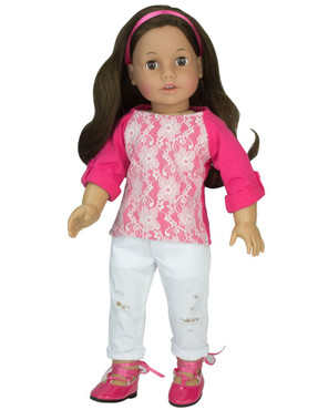 """Sophia's Distressed White Jeans and Lace Front Tee Fits 18"""" Dolls"""