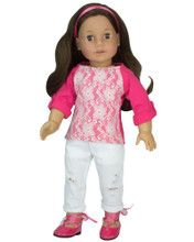 "18"" Doll Distressed White Jeans and Lace Front Tee fits American Girl Dolls"