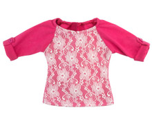 "18"" Doll Lace Trim Tee in Carnation Pink fits American Girl Doll Shirts"