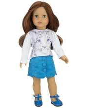 "18""Doll 2 Piece Suede Skirt and Tee Shirt Set fits American Girl Doll Skirt Outfits"