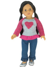 "Sophia's Knit Heart Sweatshirt & Pants Set Fits 18"" Dolls"