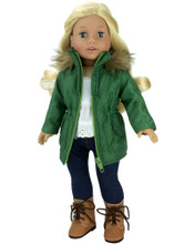 "18"" Doll Olive Green Jacket w/Fur Trim Collar fits American Girl Doll Coats"