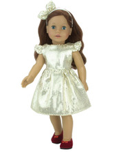 "18"" Doll Dress Gold Sequin Holiday Dress w/Headband fits American Girl Doll Dresses"