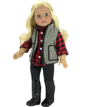 "18"" Doll Jeggings Set w/ Checkered Shirt, Jeggings & Vest fits American Girl Pants 3 pc. Set"