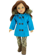 18 Inch Doll Turquoise Peacoat w/Fur trim, fits American Girl Doll Coats