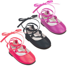 "18"" Doll Dress Shoes, Lace Up Ballerina Flats Fit American Girl Doll Shoes"